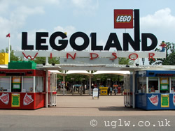 The entrance to Legoland Windsor showing the ticket booths